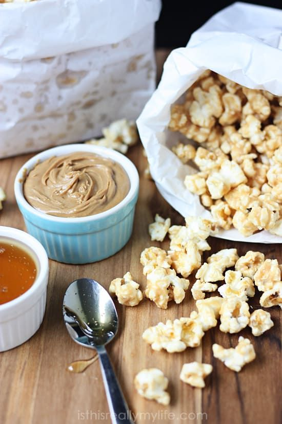 Quick & Easy Peanut Butter Popcorn | Half-Scratched