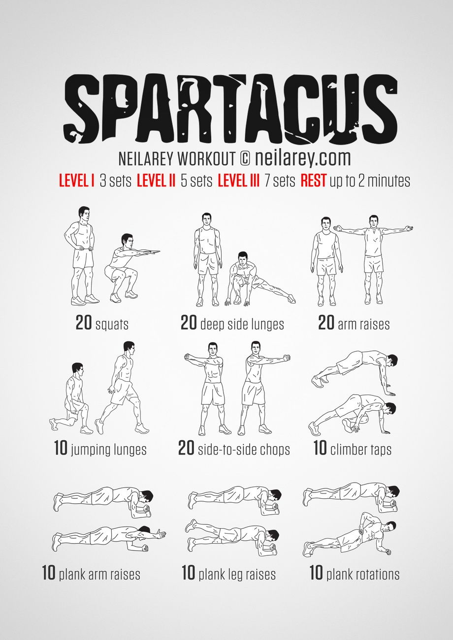 No Equipment Spartacus Bodyweight Workout For All Fitness Levels Print Use