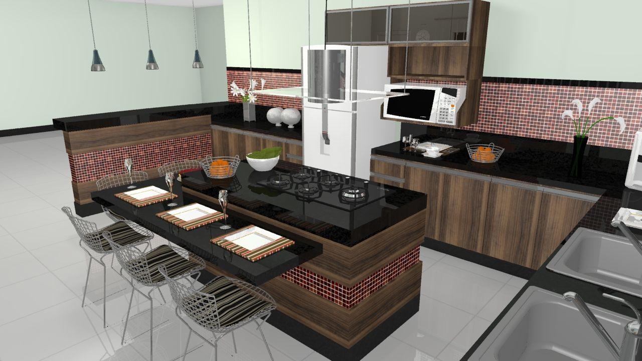 cozinha americana com granito preto - Pesquisa Google
