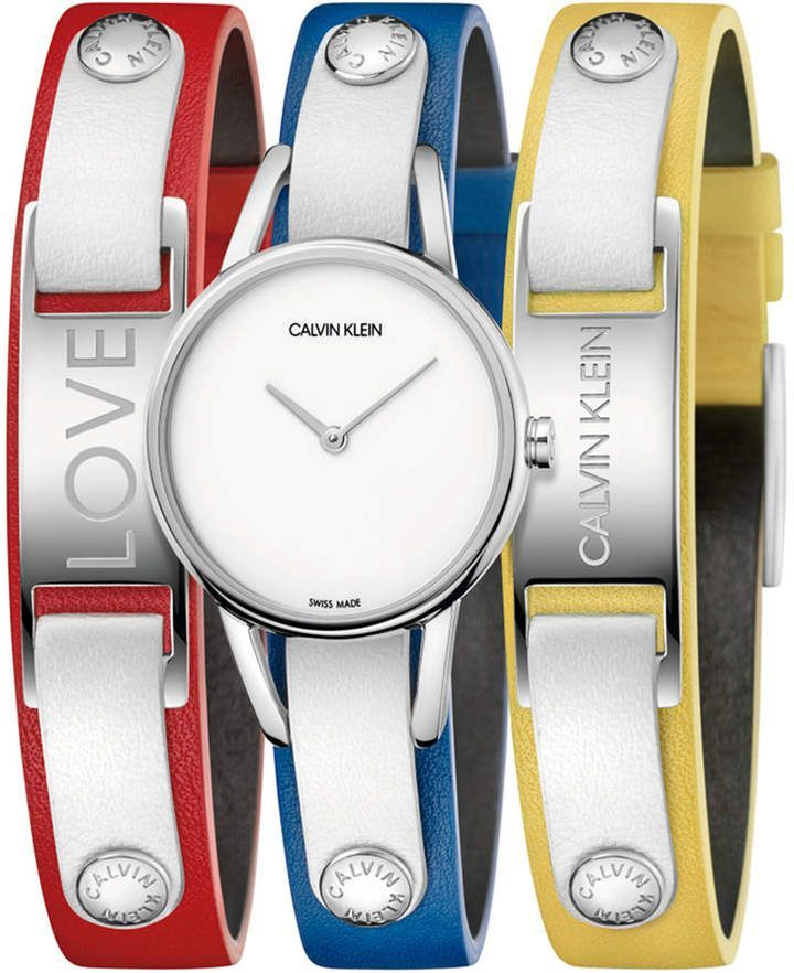 Photo of Calvin Klein Women's #mycalvins Interchangeable Multi-Color Leather Snap Strap Watch 32mm Gif…