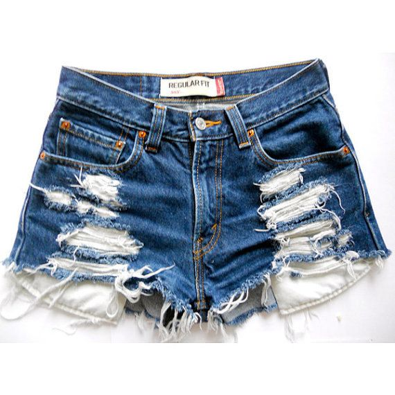 f76496457119 Vintage High Waisted Distressed Jean Shorts on Etsy, $28.00 ...