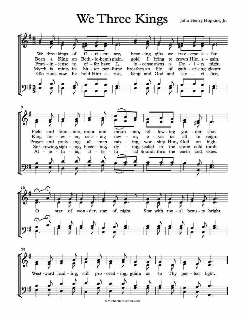 Free Choir Sheet Music - We Three Kings - Key of D Minor, E