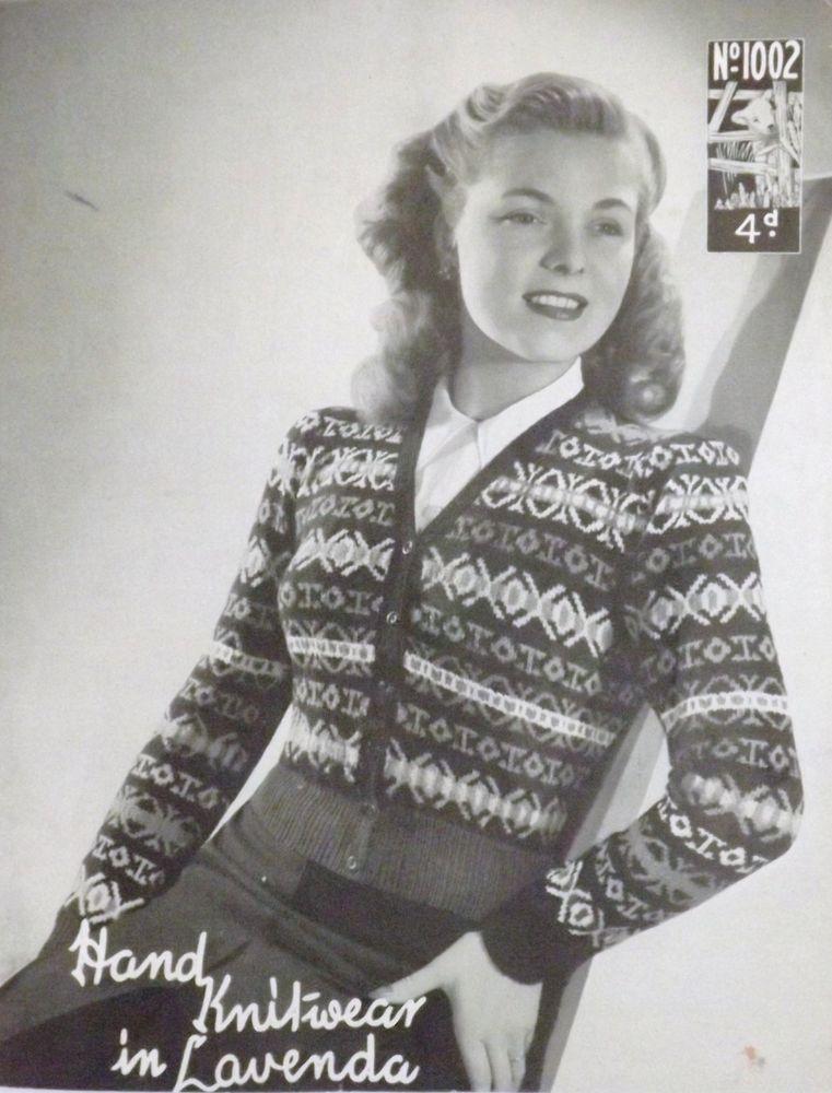 Vintage 1940 s Knitting Pattern Ladies V Neck Sleeved Fair Isle ...