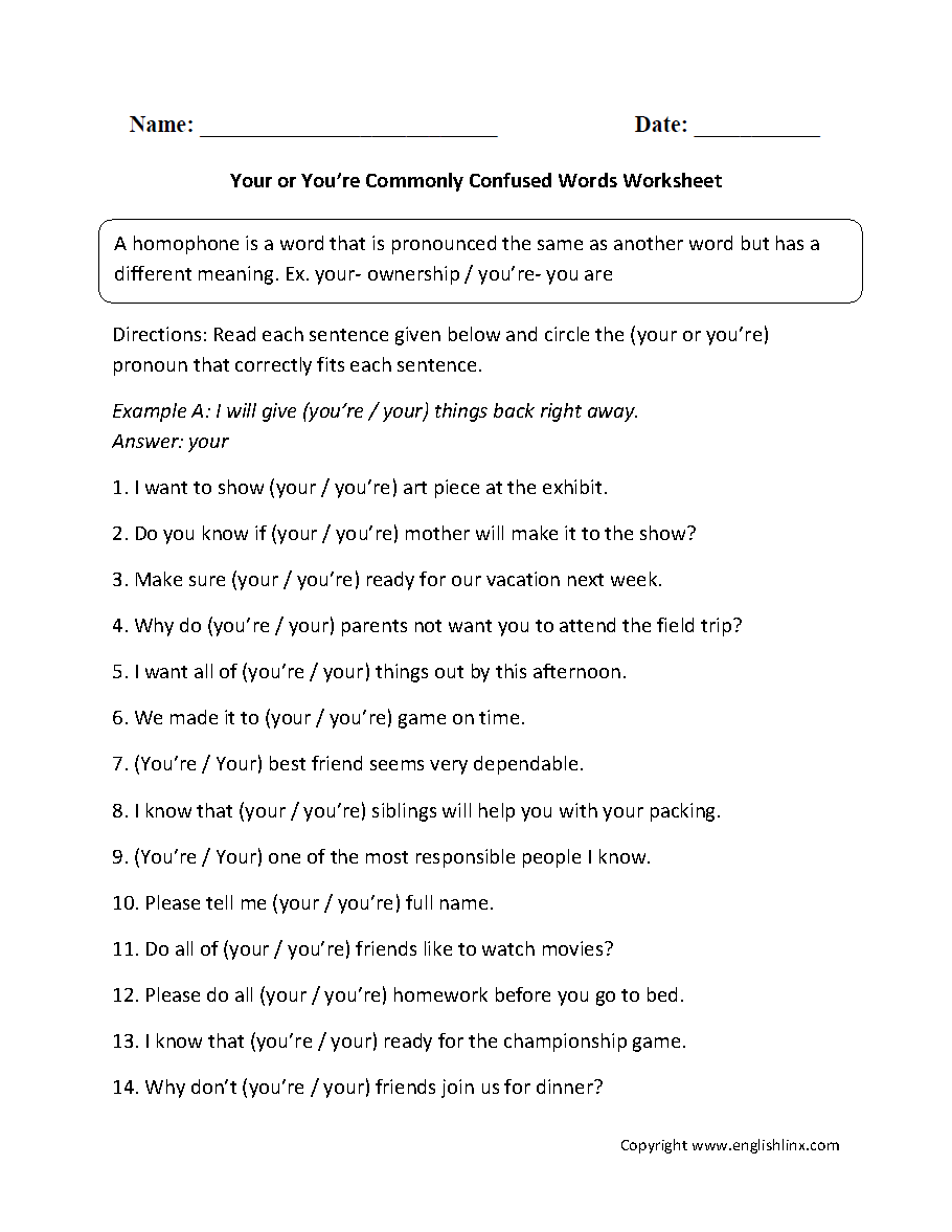 Commonly Confused Words Worksheets   Your and You're Commonly Confused  Words Worksheets   Homophones worksheets [ 1177 x 910 Pixel ]