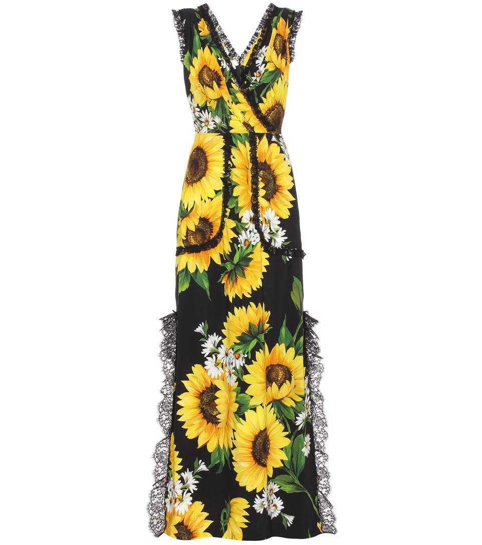 Dolce Gabbana Sunflower Lace Detail Maxi Dress In Black Modesens Yellow Floral Print Dress Floral Print Dress Dresses [ 1088 x 962 Pixel ]
