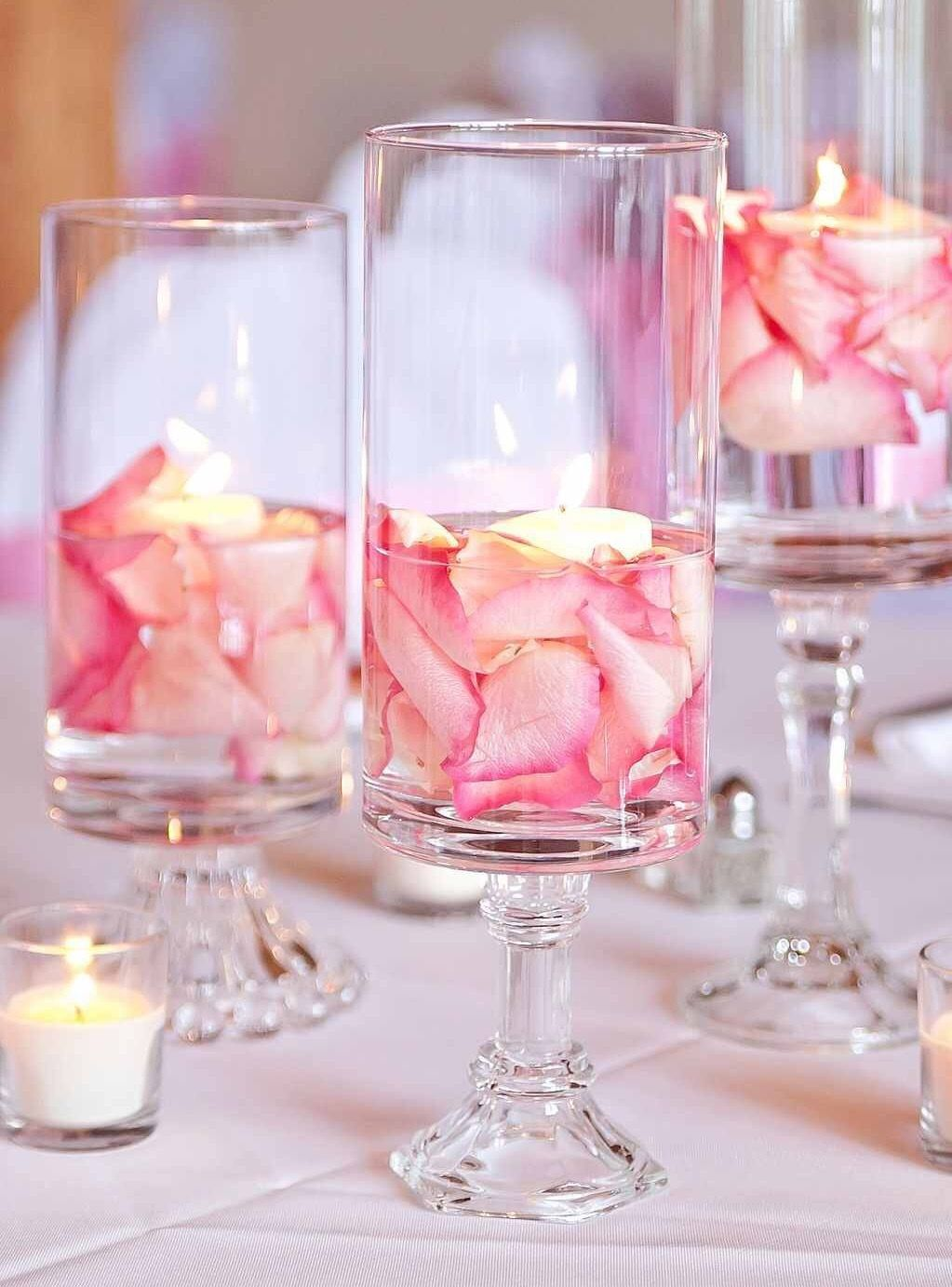 Tall wedding vases less than 7 each purchase from httpwww flower petal vase centerpiece with floating candle great for bridal shower wedding or baby shower reviewsmspy