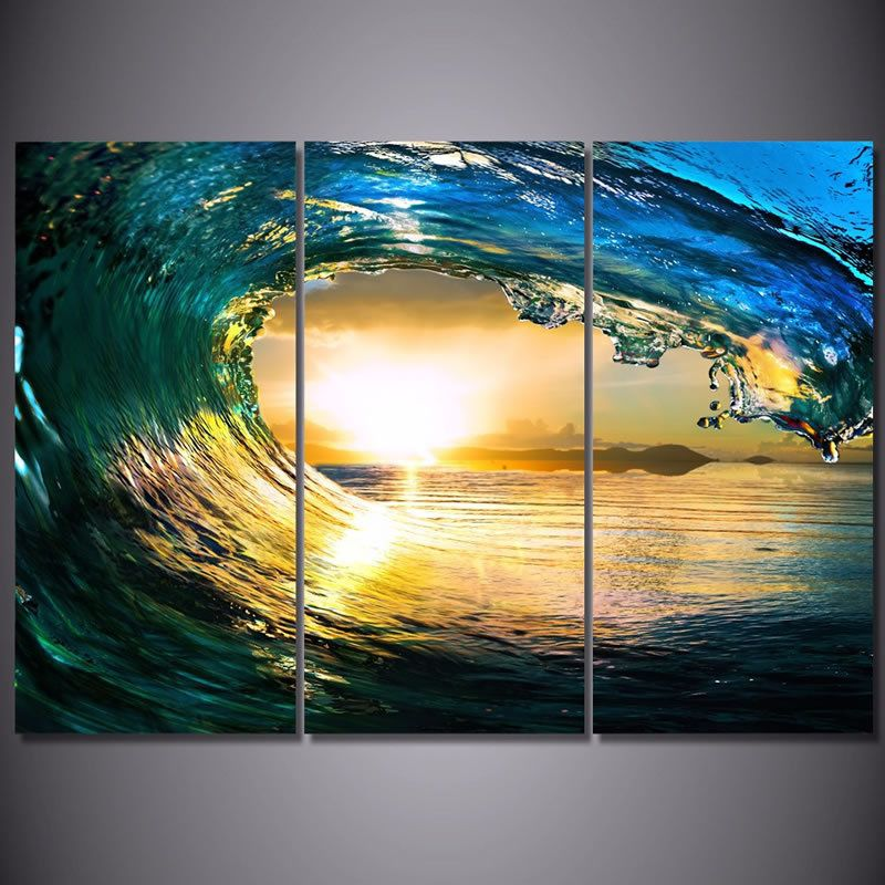 3 Pcs Ocean Wave Sunset Sea Landscape Art Framed Canvas Wall Decor ...