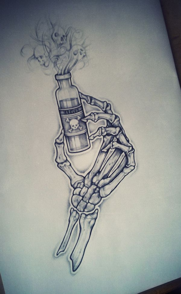 Garrafa Mortal Ordem Tatuagem No Behance Garrafinha Desenho