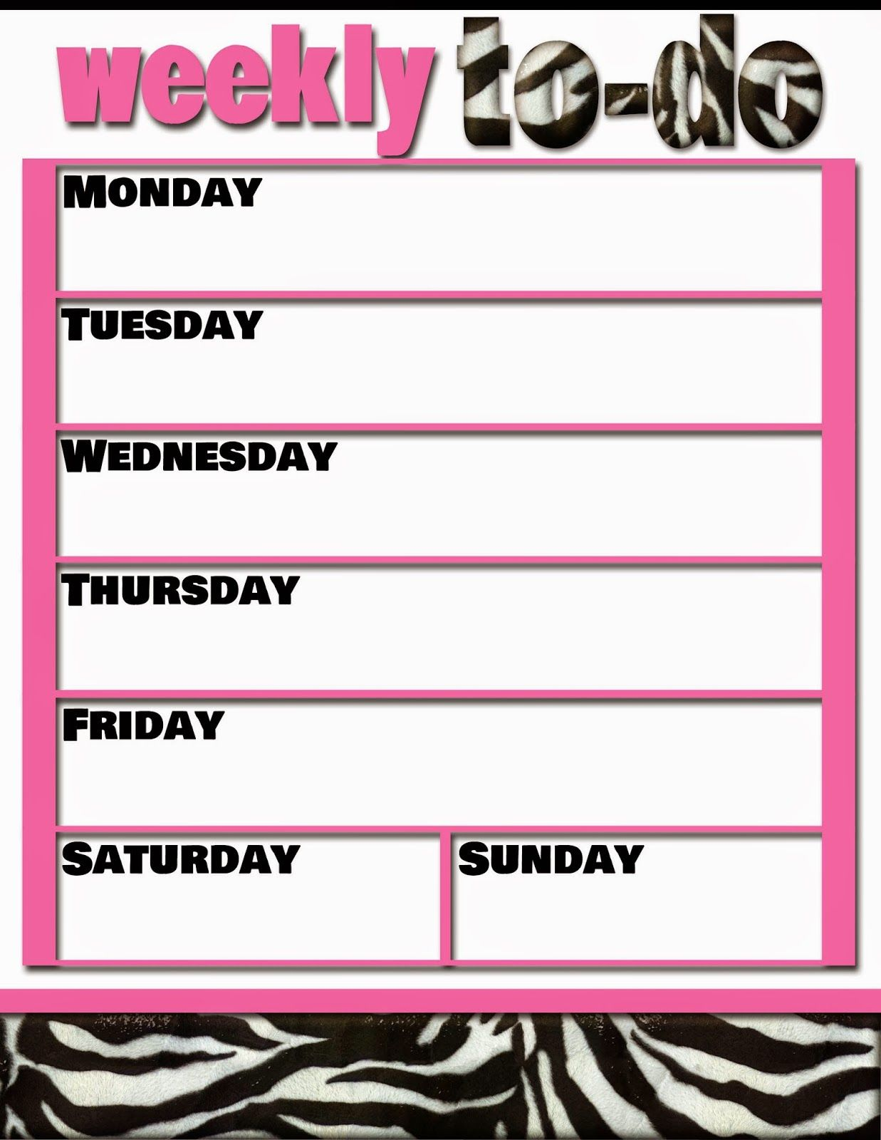 Free Printable Weekly To Do Zebra