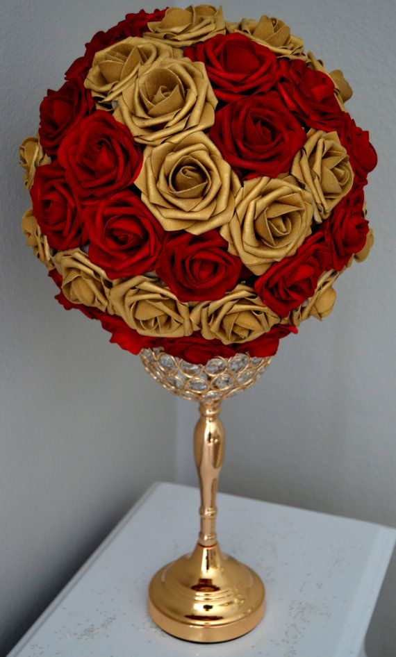 Red Gold Flower Ball Mix Red And Gold Wedding Centerpiece Red And Gold Kissing Ball Flower Girl Sweet 16 Quinceanera Pick Mix Color Gold Wedding Centerpieces Red Gold Wedding Gold Centerpieces