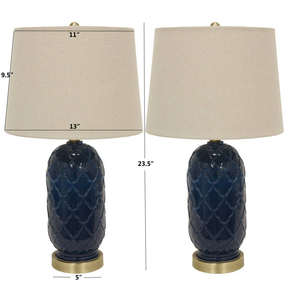 Jazlynn 24 Table Lamp Set With Images Glass Table Decor Therapy Glass Table Lamp