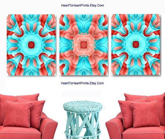 coral aqua wall art orange blue wall decor peach teal abstract art rh pinterest com
