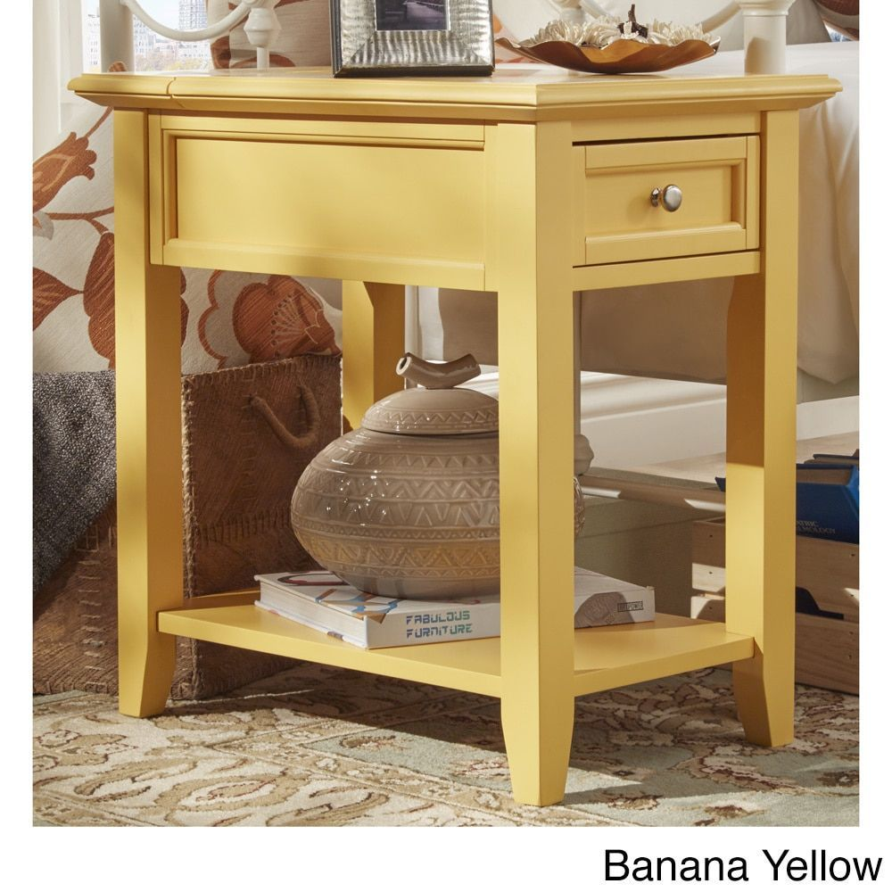 Side table with drawer  Zayden drawer Side Table with Power Strip by Inspire Q Banana