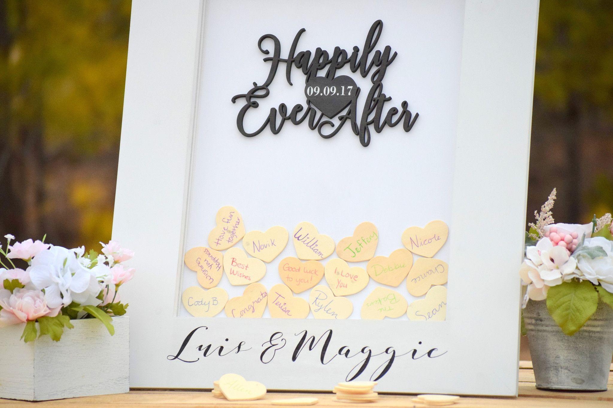 White Heart Drop Wedding Guest Book Alternative Wedding