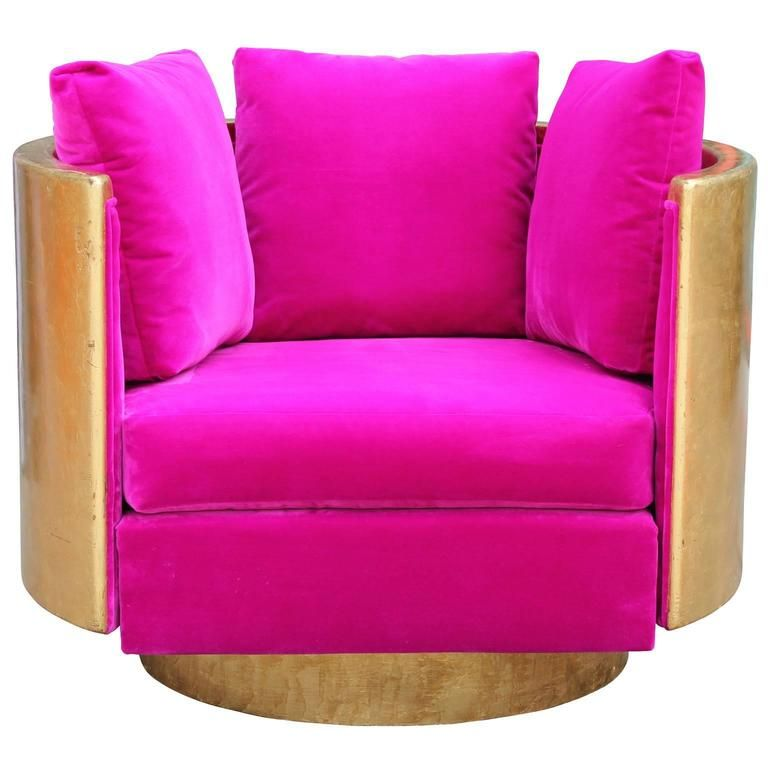 Ultra Glam Modern Gold Leaf And Hot Pink Velvet Swivel Lounge Chair