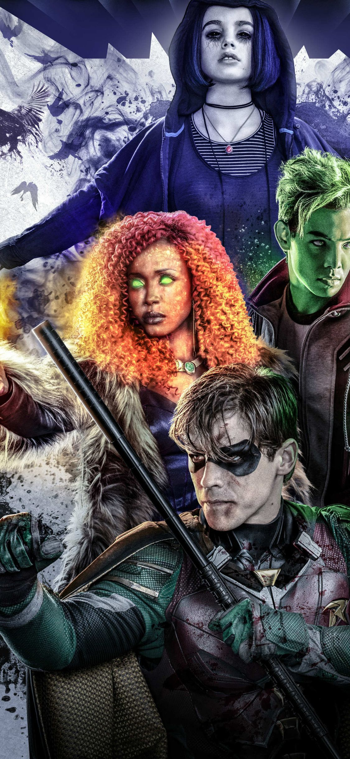 1125x2436 Beast Boy Raven And Starfire In Titans 2018