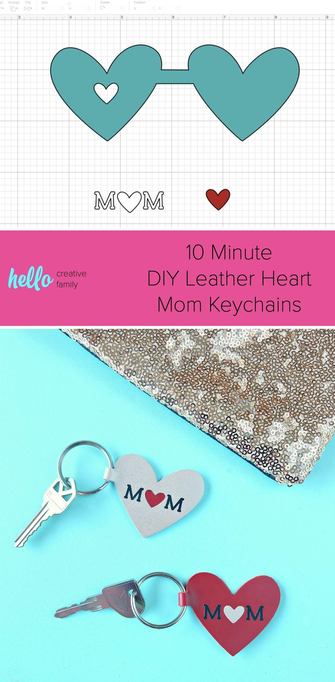 10 Minute Diy Leather Heart Mom Keychain Leather Keychain Diy