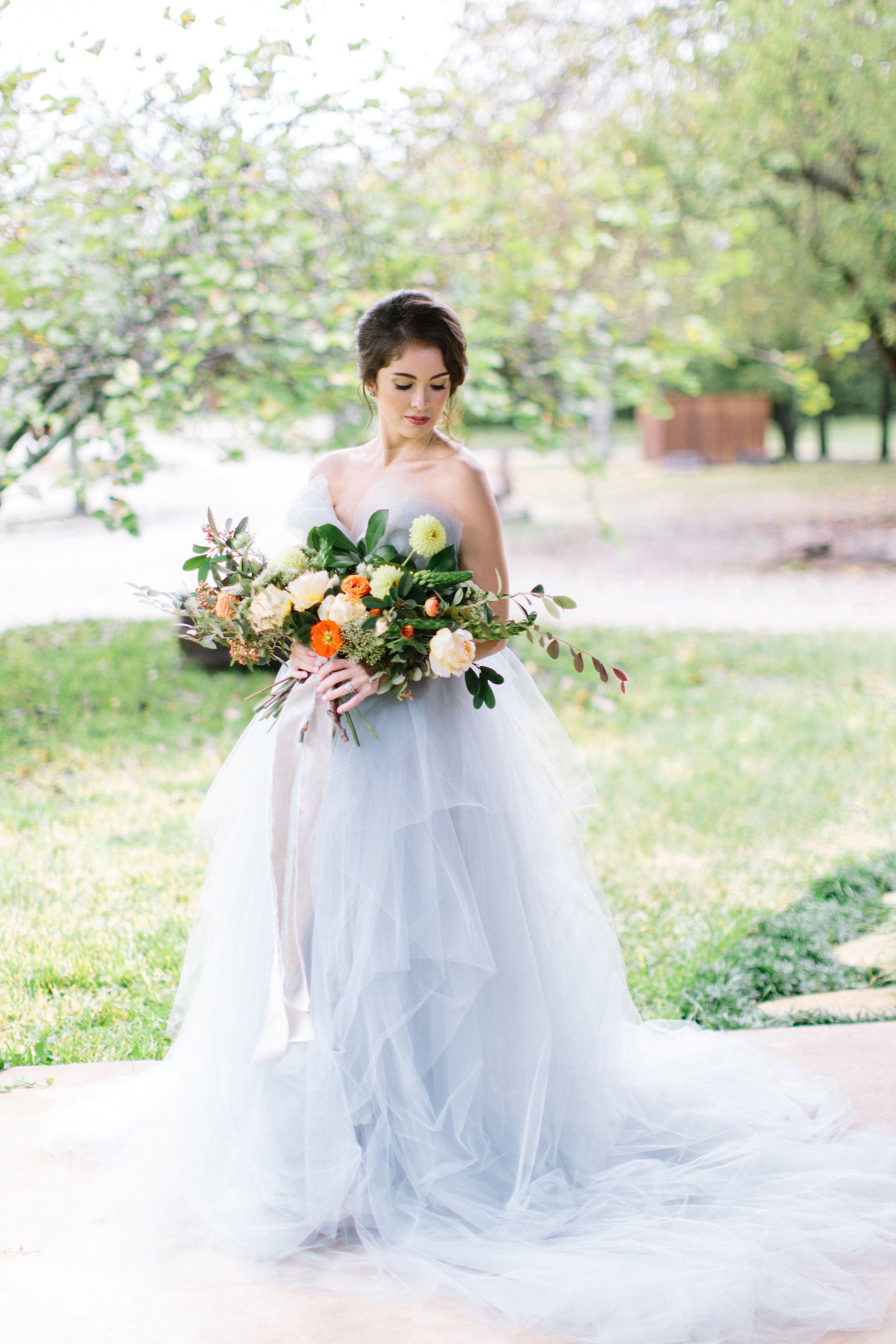 Blue Wedding Dress (Carol Hannah) and tangerine and yellow bouquet ...