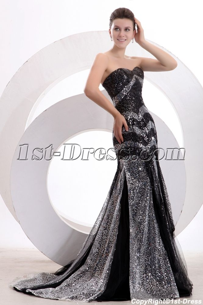 1st-dress.com Offers High Quality Black and Silver Sequins Sheath ...