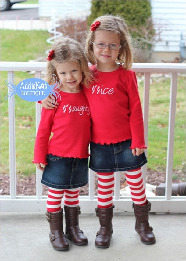 Personalized Christmas Naughty or Nice Coordinating Sister Sibling Shirts -  Limited Quanities by AddieKatShop on Etsy - Personalized Christmas Naughty Or Nice Coordinating Sister Sibling