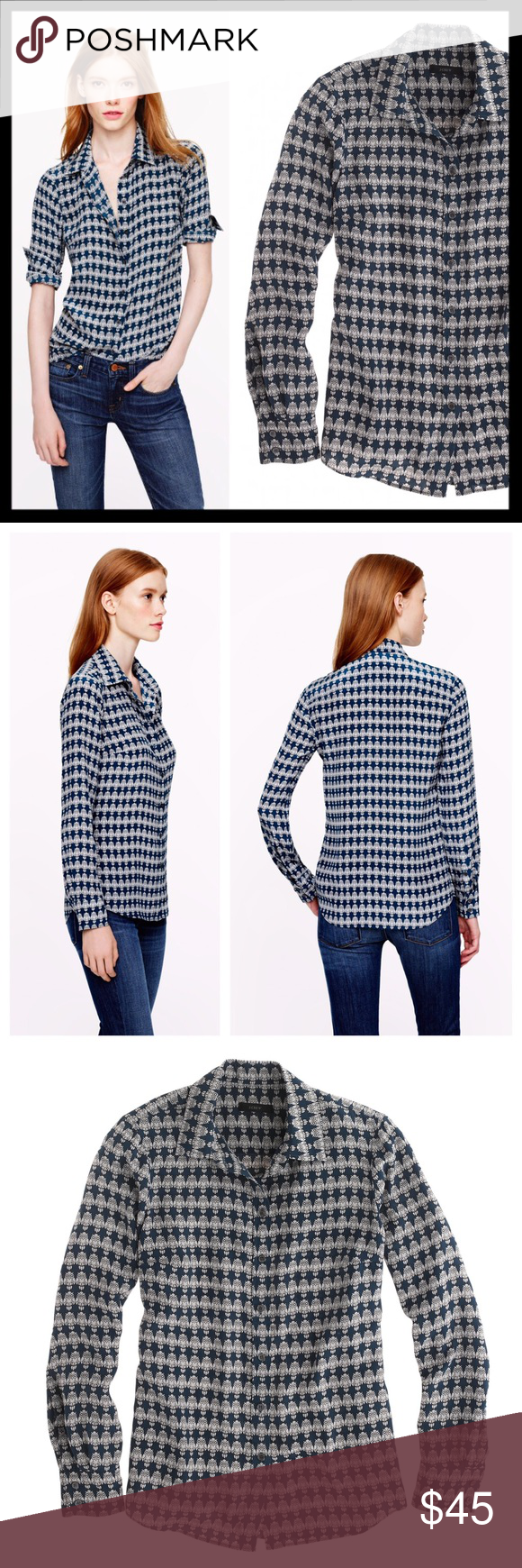 2ab4c2f5 j. crew // silk owl print boy button down blouse Super drapey and fluid,  it's what to wear when you're craving a little more polish than your  classic oxford ...