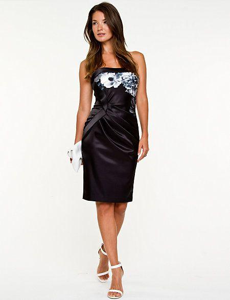 2a8f94656d Floral Print Satin Tube Dress