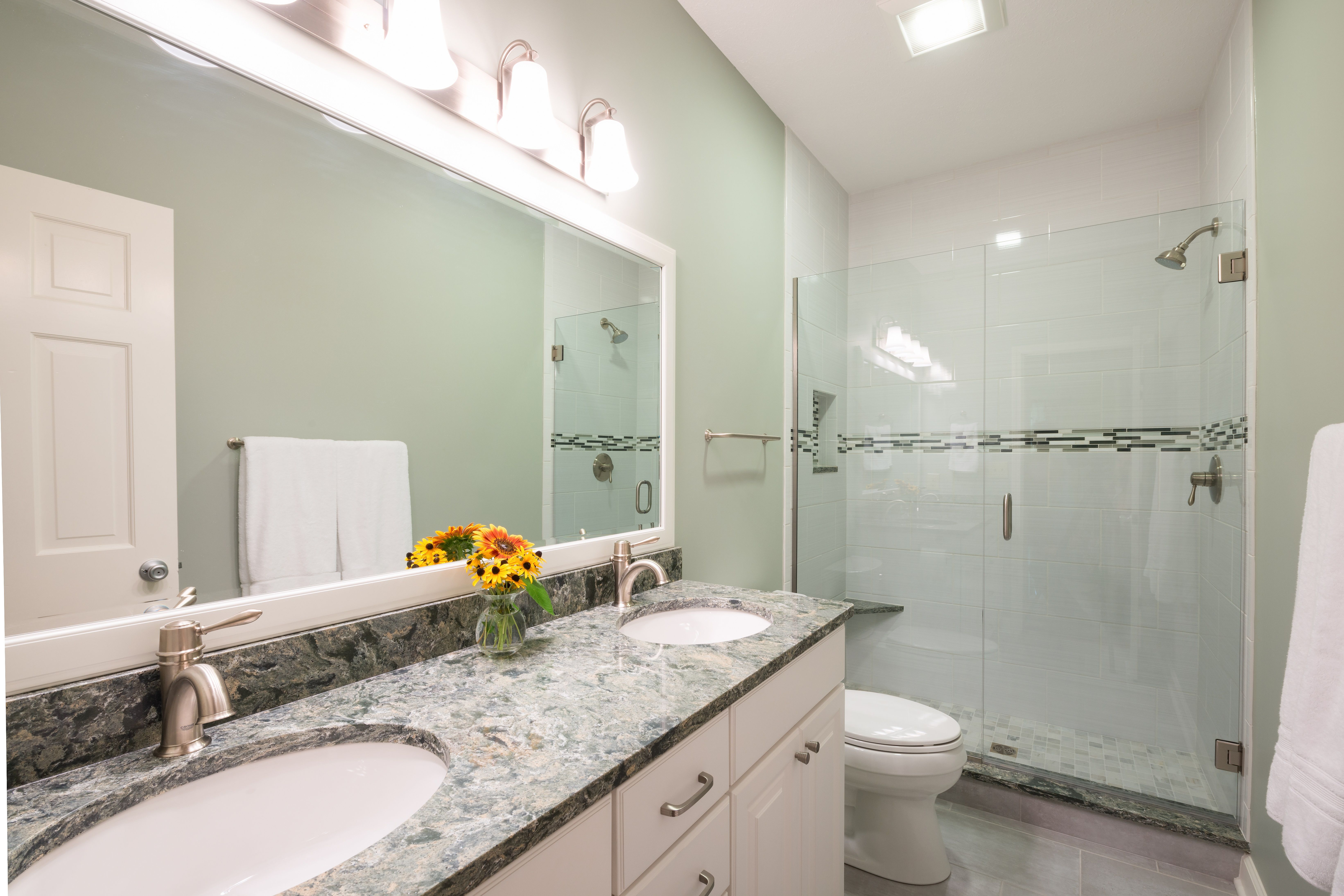 Guest bathroom remodel in Indiana. Quartz counter tops, walk in ...
