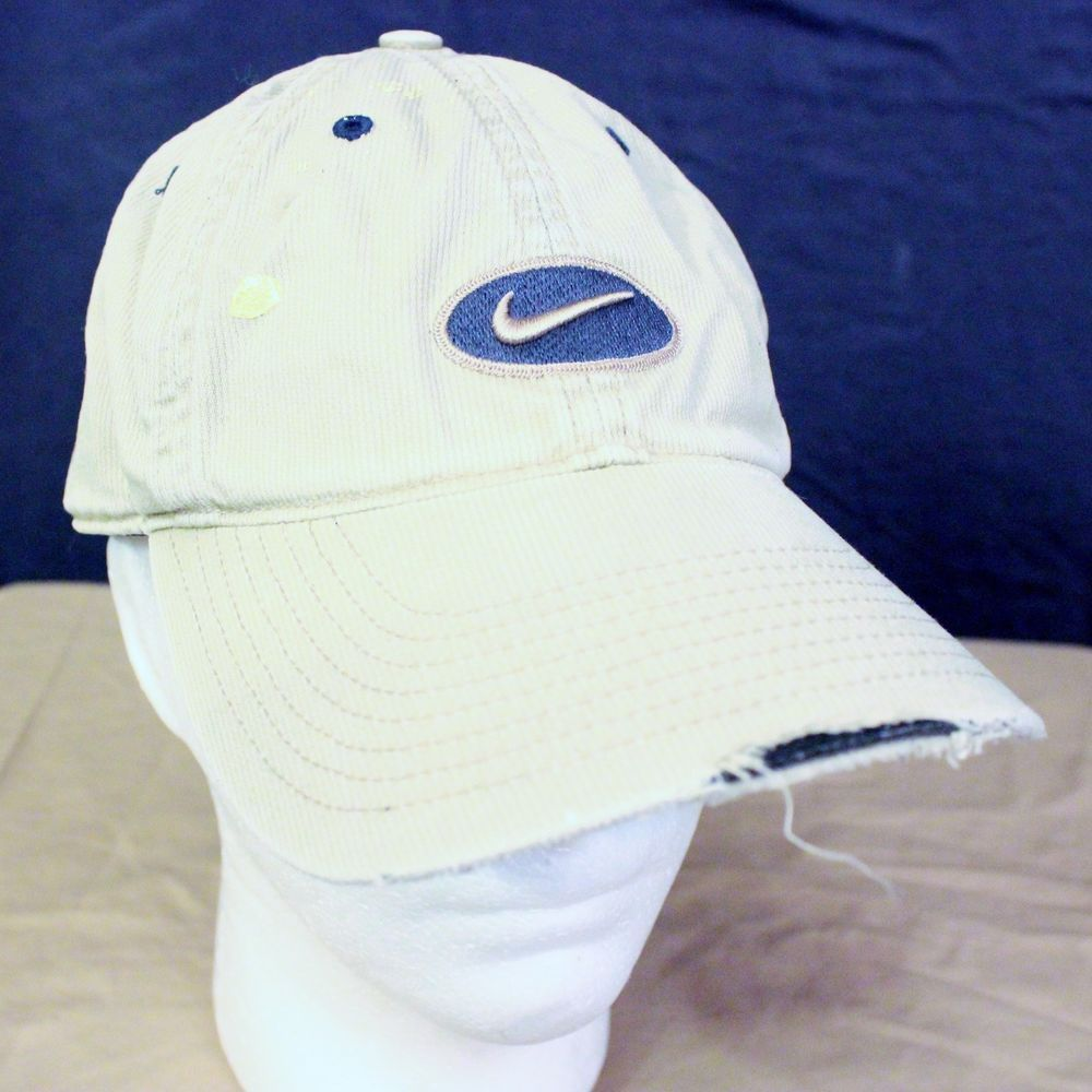 5e98ef792db Destroyed Nike Paint Hat Baseball Cap Tan Adjustable One Size Beat Up Blue  Strap  Nike  BaseballCap