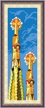 tela con dibujo impreso de la Sagrada Familia de Gaudi para bordar en punto de cruz o petit point