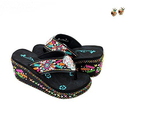 2a3a30ce4d797f Montana West Aztec Flower 3 Wedge Sugar Skull Flip Flops Earrings Set Jp  Black 8   Details can be found by clicking on the image.