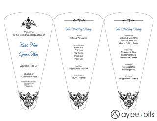Pre Designed Wedding Program Fan Template By AyleeBits
