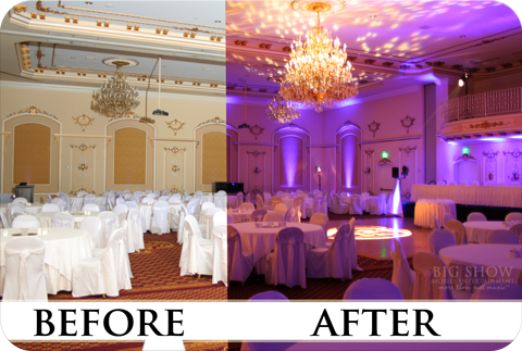 Before And After Wedding Uplights Uplighting