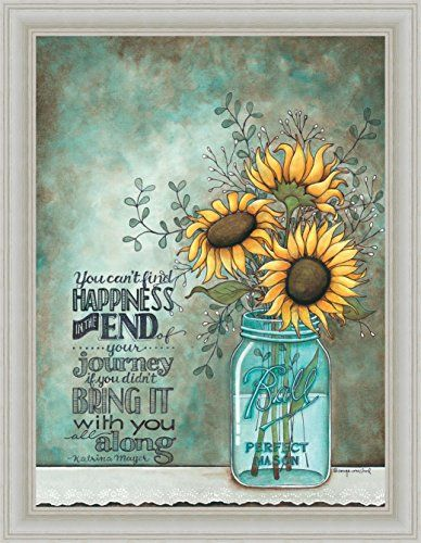 All Along Tonya Crawford Happiness Quote Sunflowers Framed Art Print ...