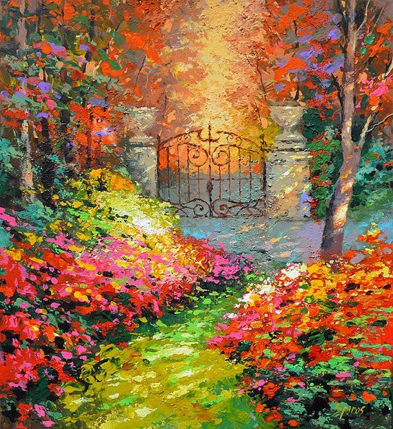 In autumn garden  Original wall art  Palette knife oil painting by Dmitry Spiros  SIZE 32 x32 , 80 x 80 cm is part of Autumn garden Illustration - In autumn garden  ORIGINAL OIL PAINTING ON COTTON CANVAS by Dmitry Spiros   SIZE 32 x32 , 80x80cm The original painting is sold, this painting is Recreation of an older painting  Note  painting on a stretcher I post only to Mexico, the USA and Canada, other countries paintings are sent in a roll   Description impressionist artwork  In autumn garden    Medium oil, canvas  Dominant Colors Blue, grey, yellow, white and red  Signed and dated on the front and back by the artist  Stretched and ready to hang, sides painted no frame needed  I onl y use the best professional ARTIST GRADE canvas and paint so you can always be assured you are getting a gallery quality piece  Year of Work 2013  Painting come with COA GALLERY VALUE 2900$ A certificate of Authenticity signed and dated by the artist will be included in the package  PAYMENT METHODS  PayPal Shipping and handling  All of my paintings are professionally packed with great care