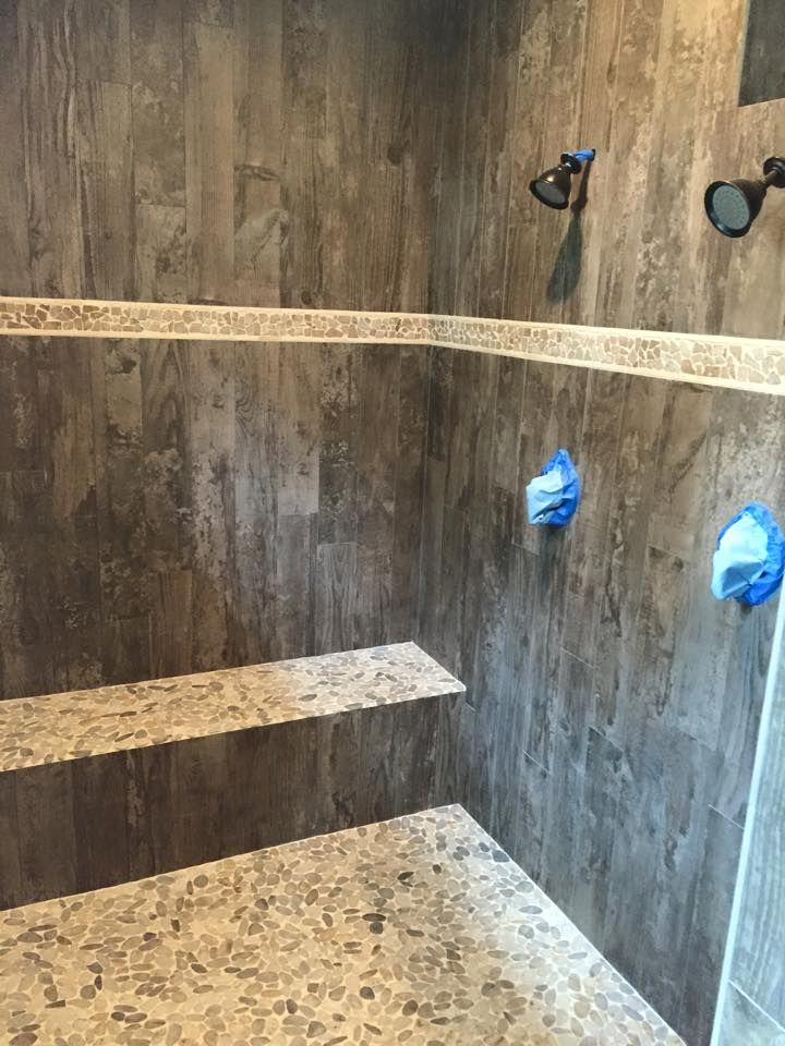 love this shower with tile that looks like wood bathrooms in 2019 bathroom shower tile. Black Bedroom Furniture Sets. Home Design Ideas