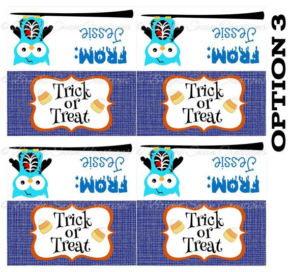 Personalized Halloween Treat Bag Topper -DIY Printable - Print all you need! D3