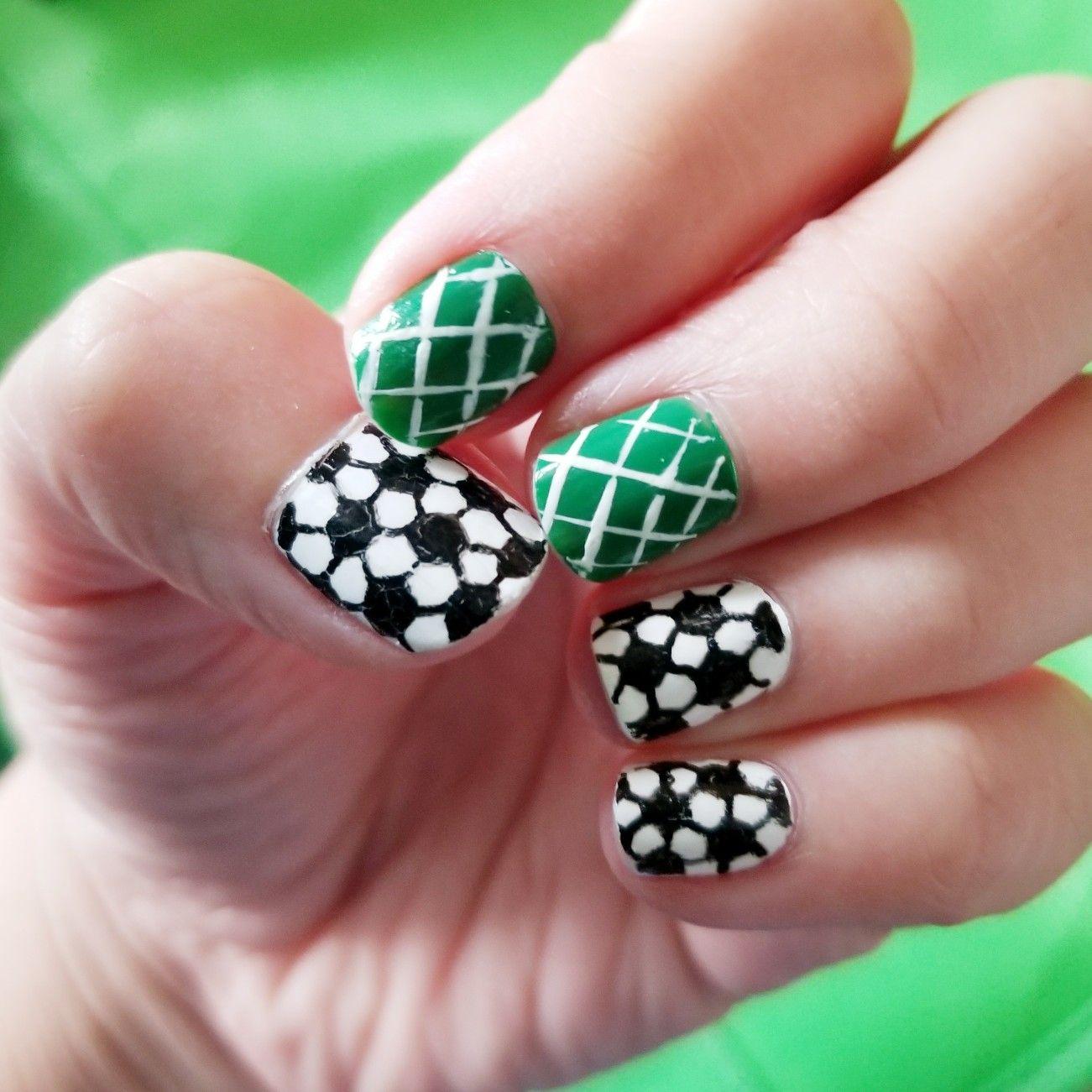 Soccer Themed Pattern Black White Greennn Nail Art Nails Pattern