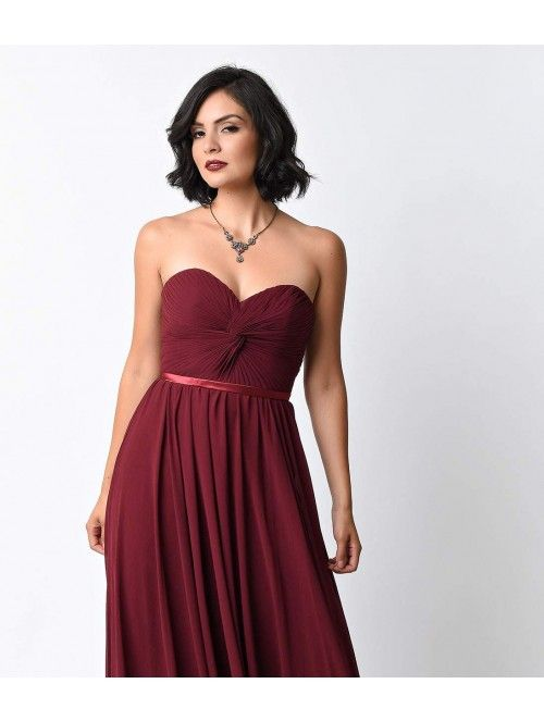 Burgundy Chiffon Strapless Sweetheart Corset Long Gown For Prom 2017