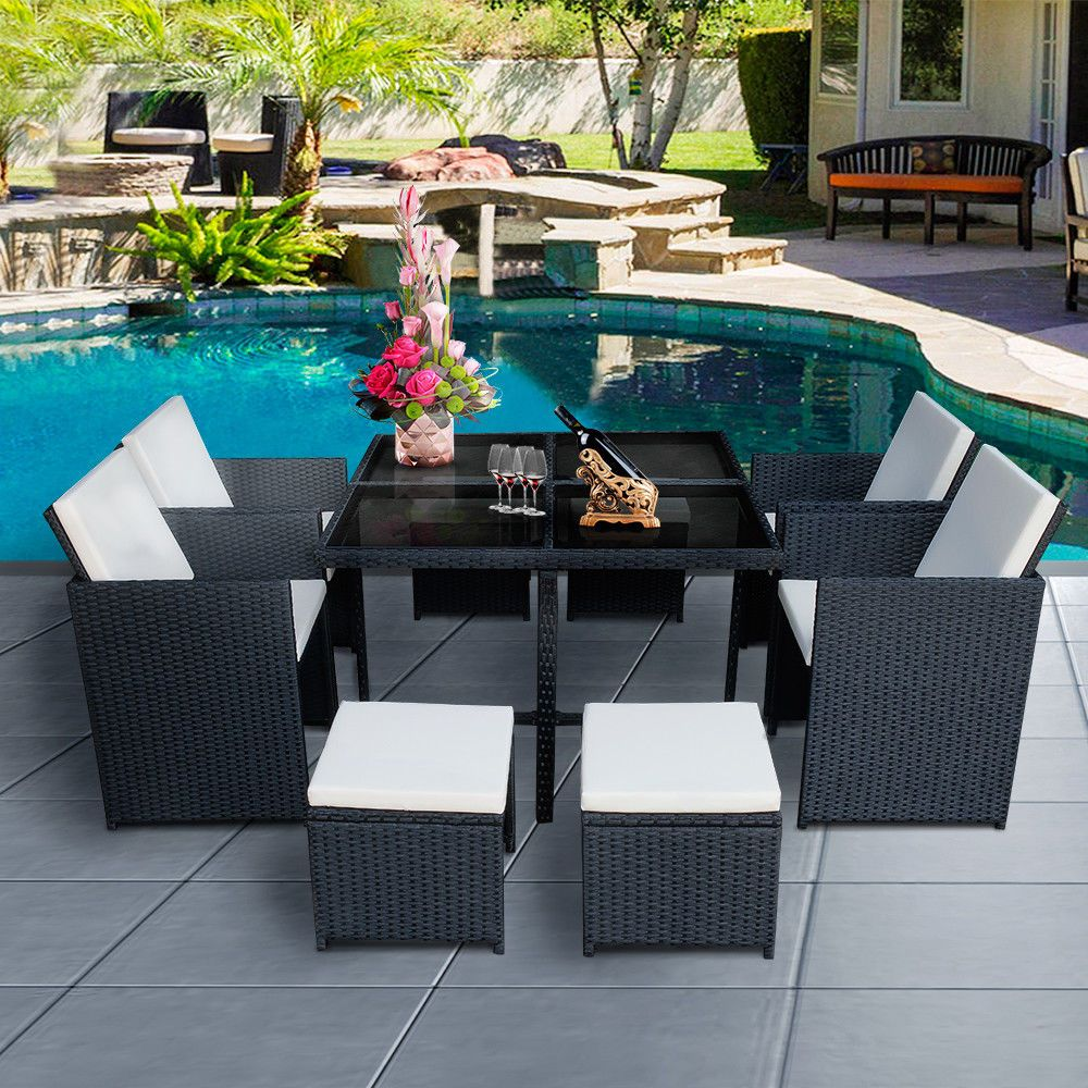 10Pc CUBE RATTAN GARDEN FURNITURE SET CHAIRS SOFA DINING TABLE