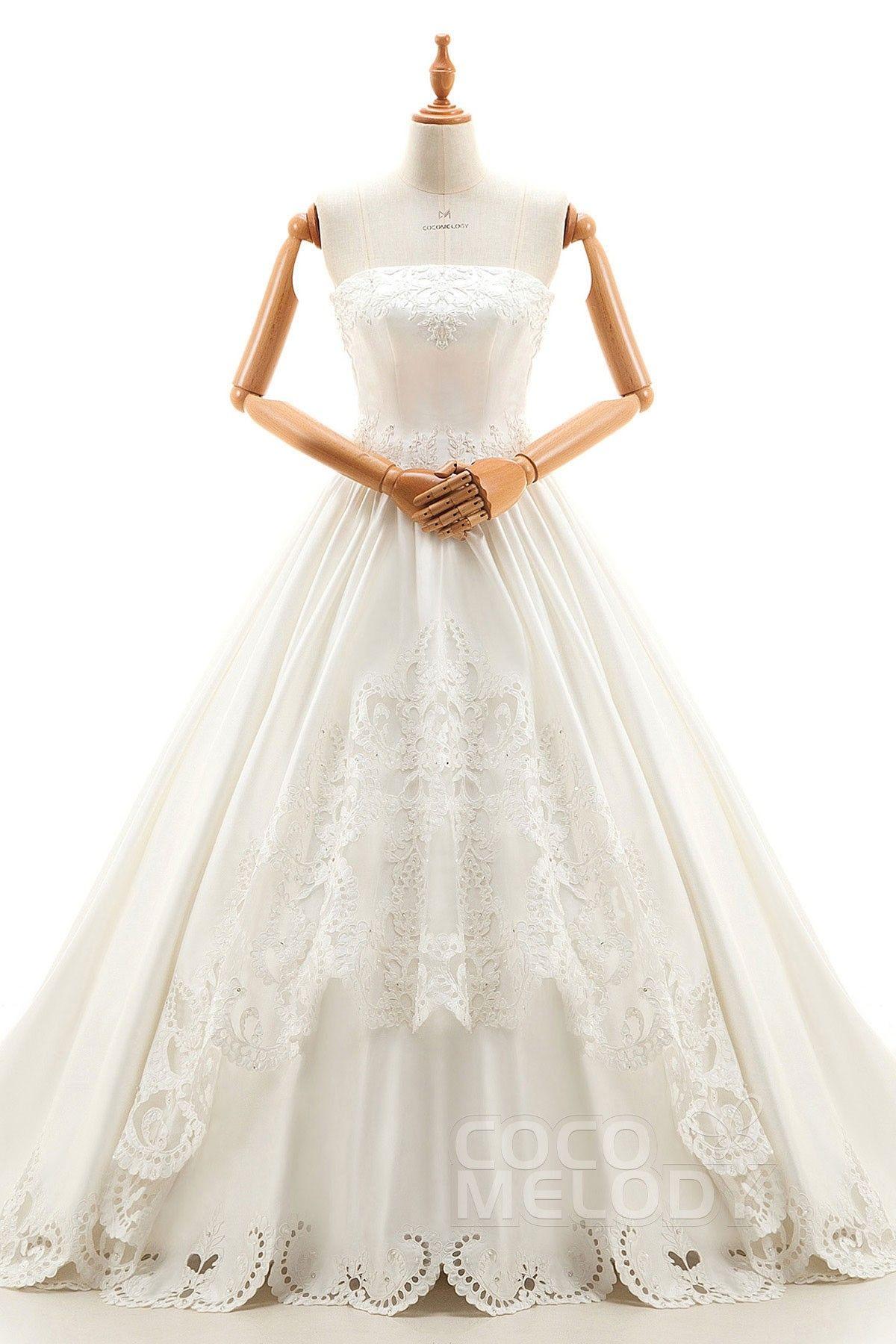 ALine Cathedral Train Satin Wedding Dress B14TB0083 in