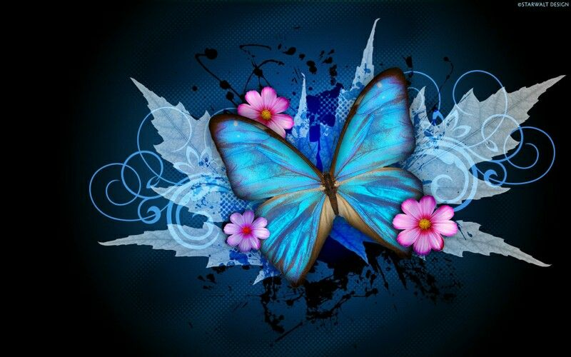 Digital butterfly and flowers