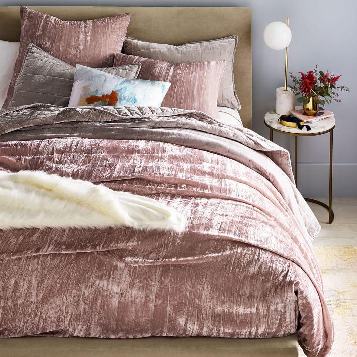 Crinkle Velvet Duvet Cover Shams In 2021 Velvet Duvet Comforter Cover Duvet Covers