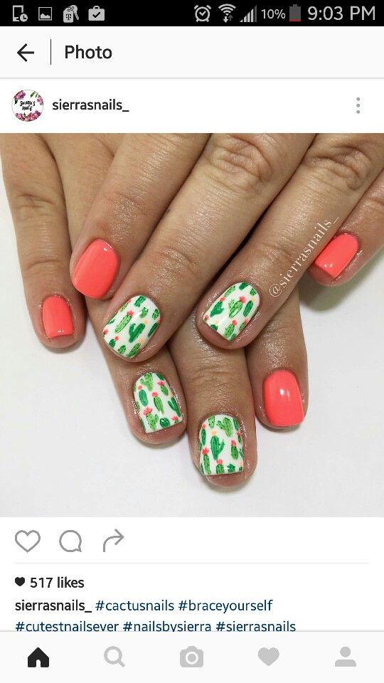 cute cactus nail ideas in 2019