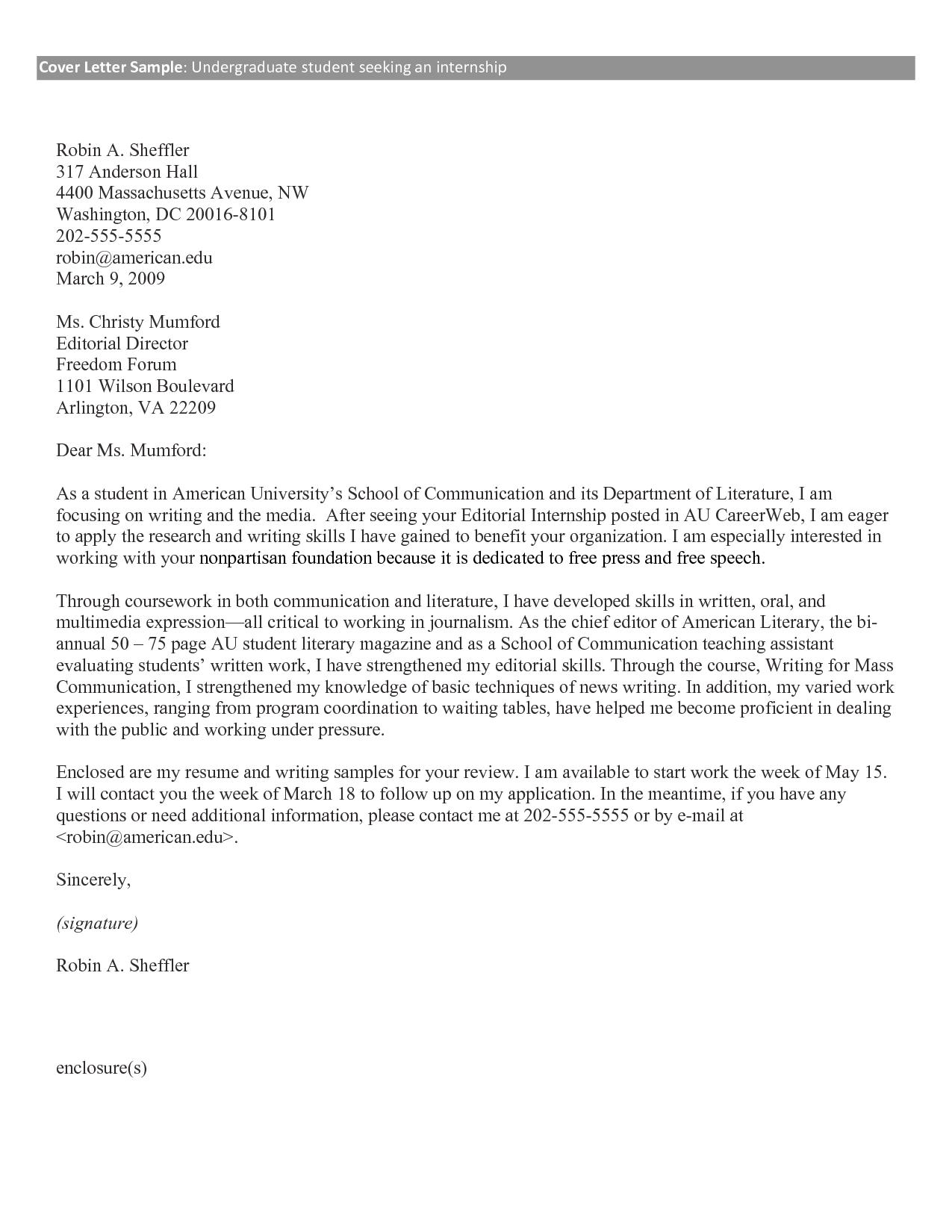 cover letter internship pdf