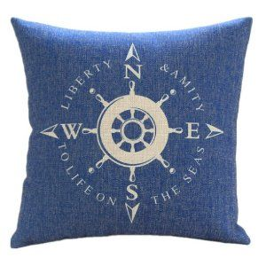 "Amazon.com - MagicPieces Cotton and Flax Nacy Style Land and Sea Decorative Pillow Cover Case C 18"" x 18"" Square Shape-ocean-beach-sea-print..."