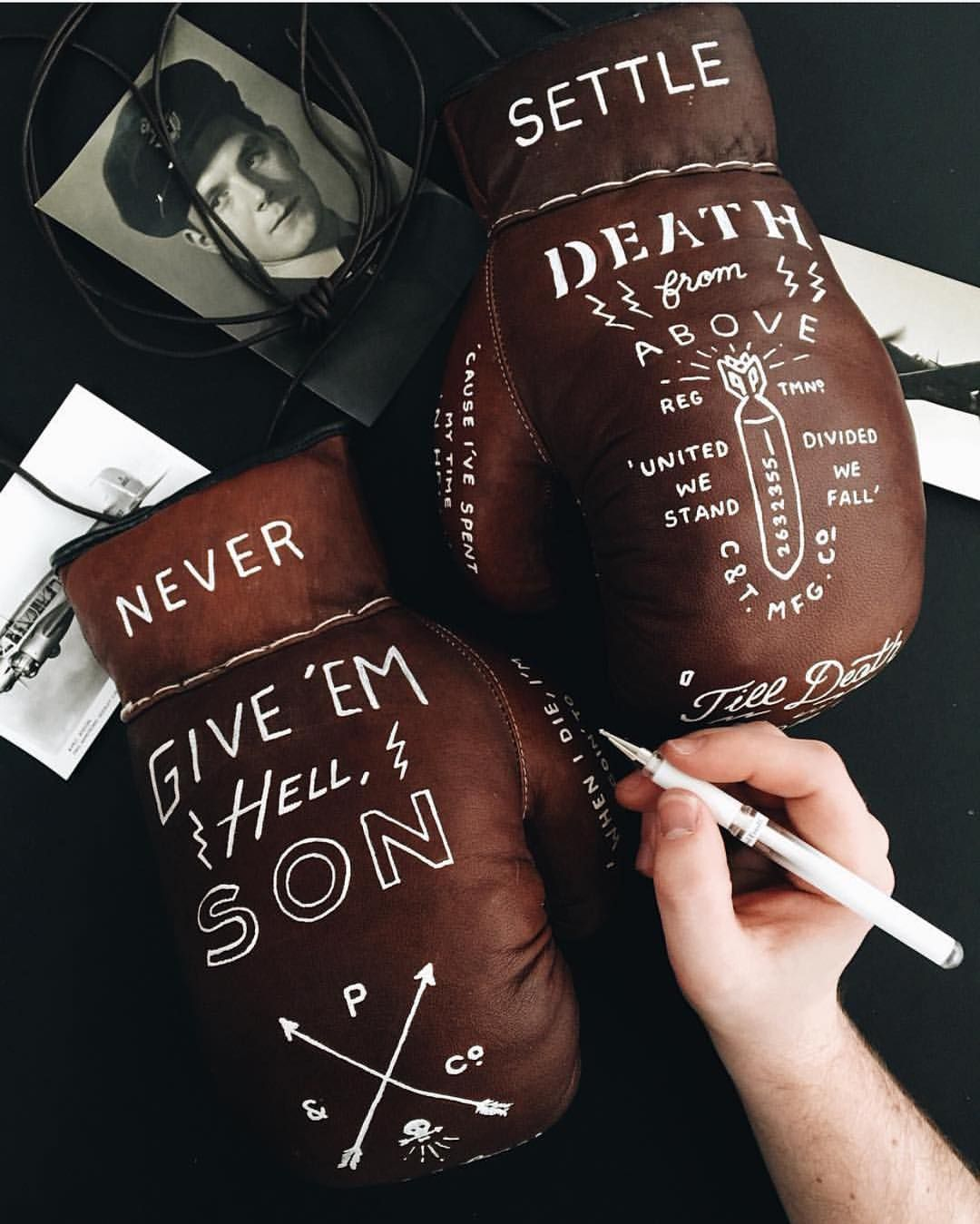 Lettering on gloves from @pandco