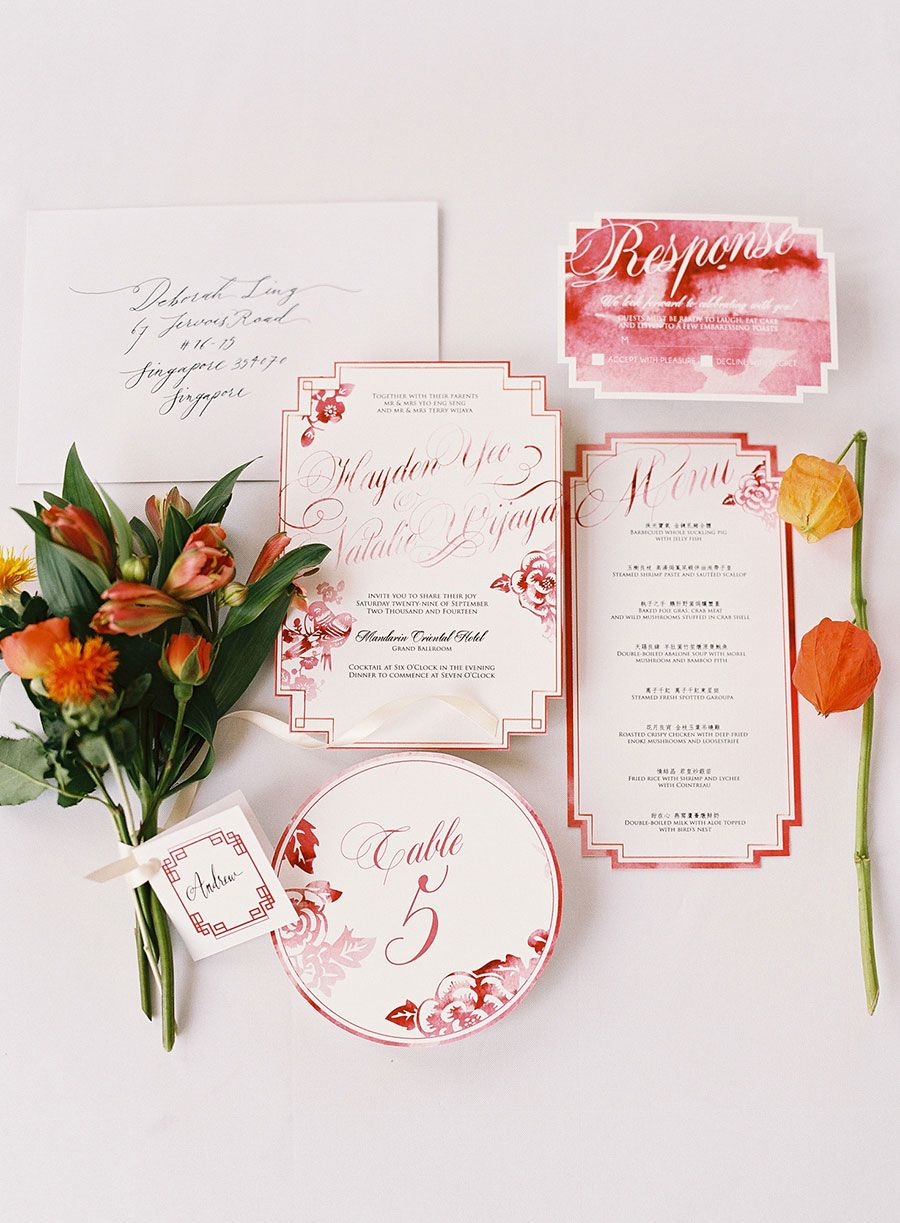 Wedding stationery suite with red watercolor and