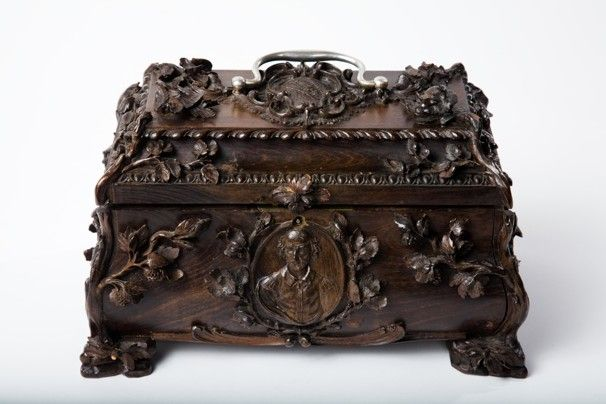 """This 18th-century tea caddy is carved from a mulberry tree that had grown on Shakespeare's New Place. """"When this tree fell, instead of turning it into firewood, they started carving objects out of it,"""" Witmore says."""