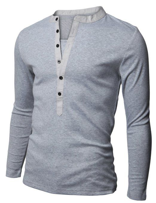 00aea2d77ace18 Amazon.com  Doublju Mens Long Sleeve Slim Fit Henley Shirts  Clothing