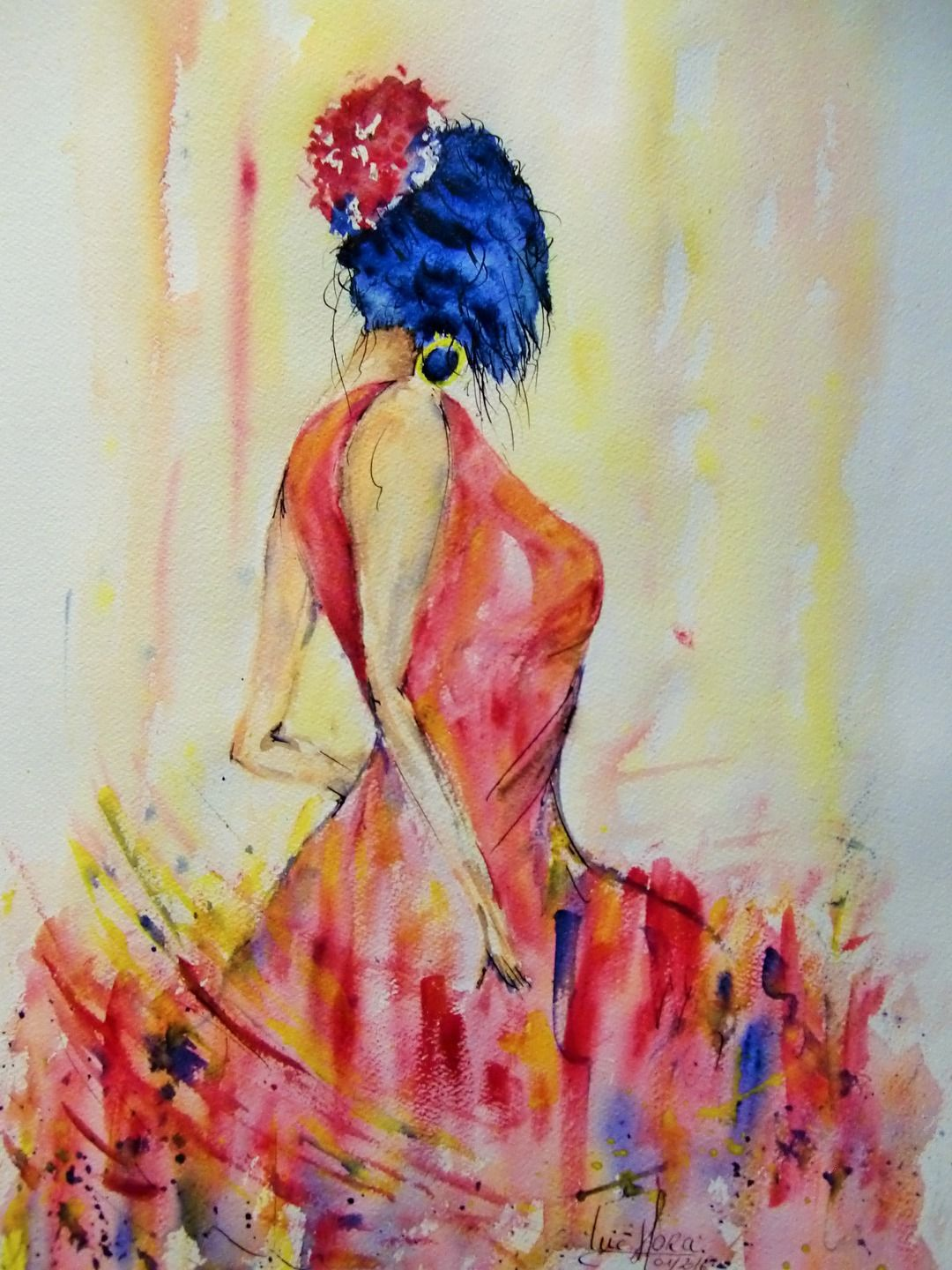 la danseuse rouge tableau peinture aquarelle encre de chine unique originale et sign e. Black Bedroom Furniture Sets. Home Design Ideas